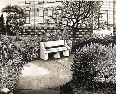 drawing of bench on campus