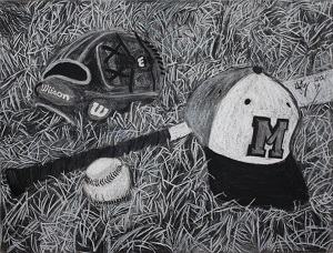drawing of baseball equipment