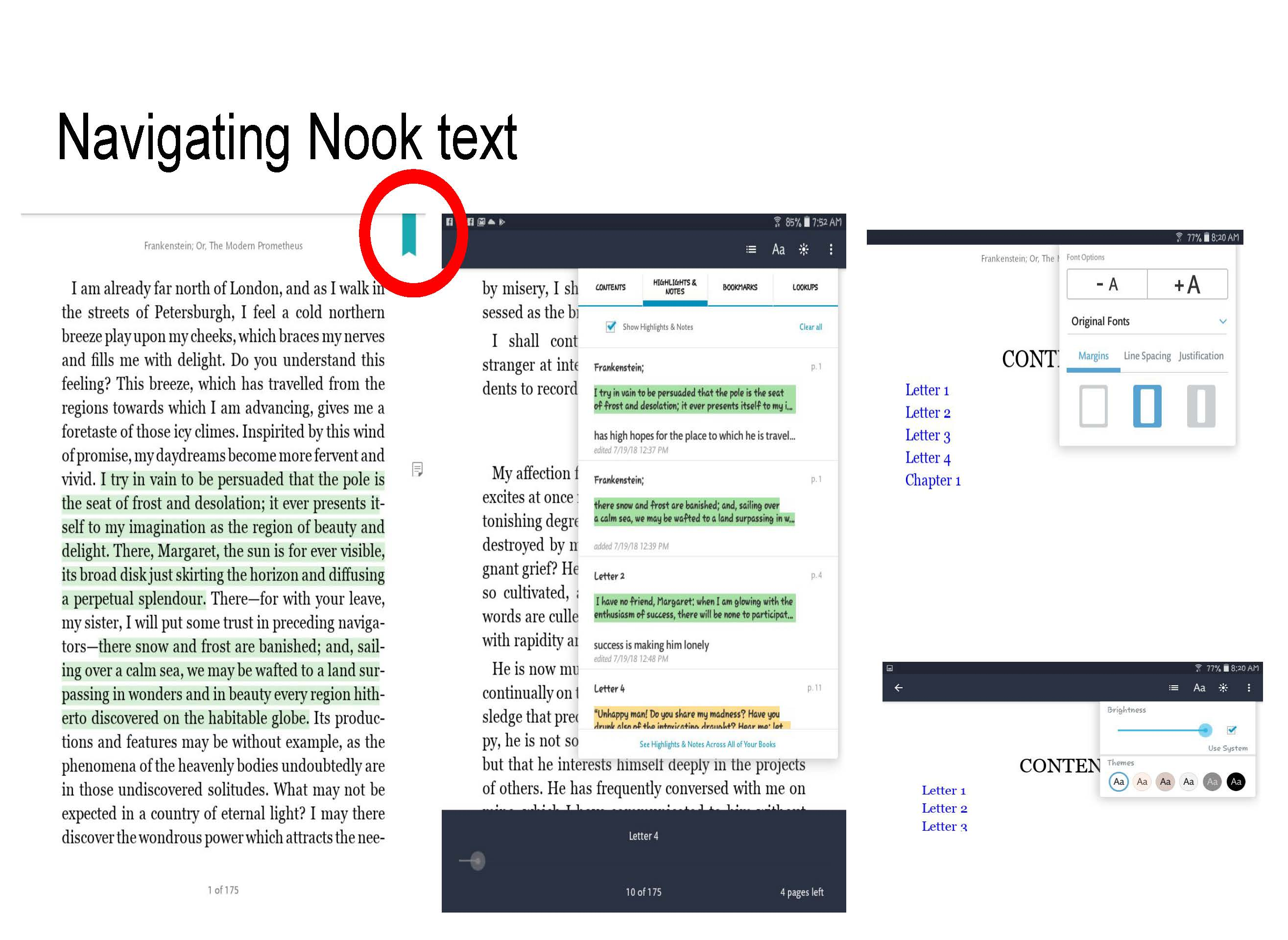 Nook lets you control font size, brightness, and view notes, contents and bookmarks