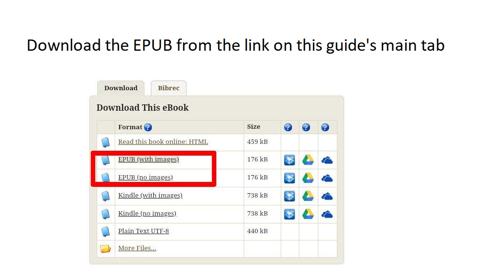 Download the EPUB from the link on this guide's main tab