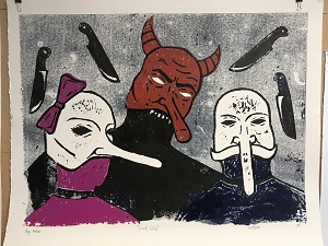 creatures with masks and knives painting
