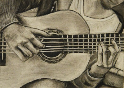 Drawing of guitar playing