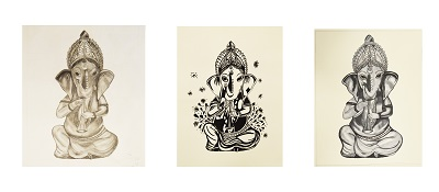 3 versions of drawings of a stylized elephant