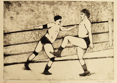 Drawing of 2 men in boxing ring