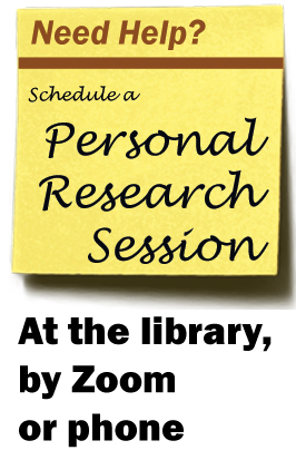 Need Help? Schedule a Personal Research Session, in the library, by zoom or email