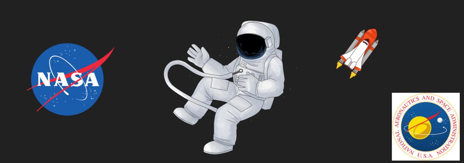 NASA logos, an astronaut and the space shuttle
