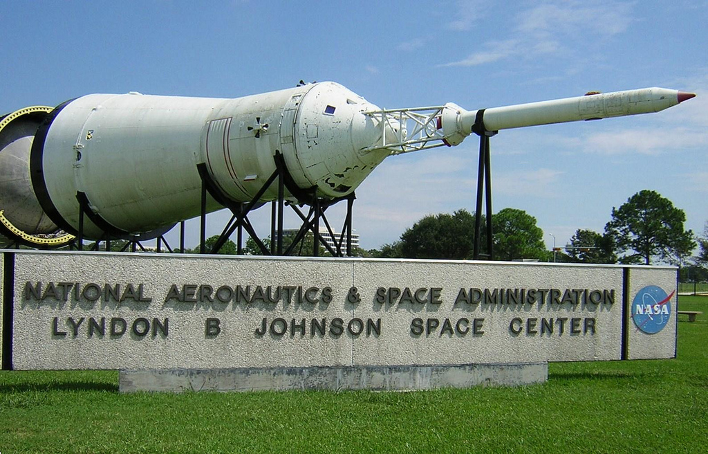 JSC Building in Houston Texas with Rocket