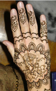 Hands decorated with henna
