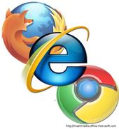Mozilla Firefox, Internet Explorer, and Google Chrome Logos