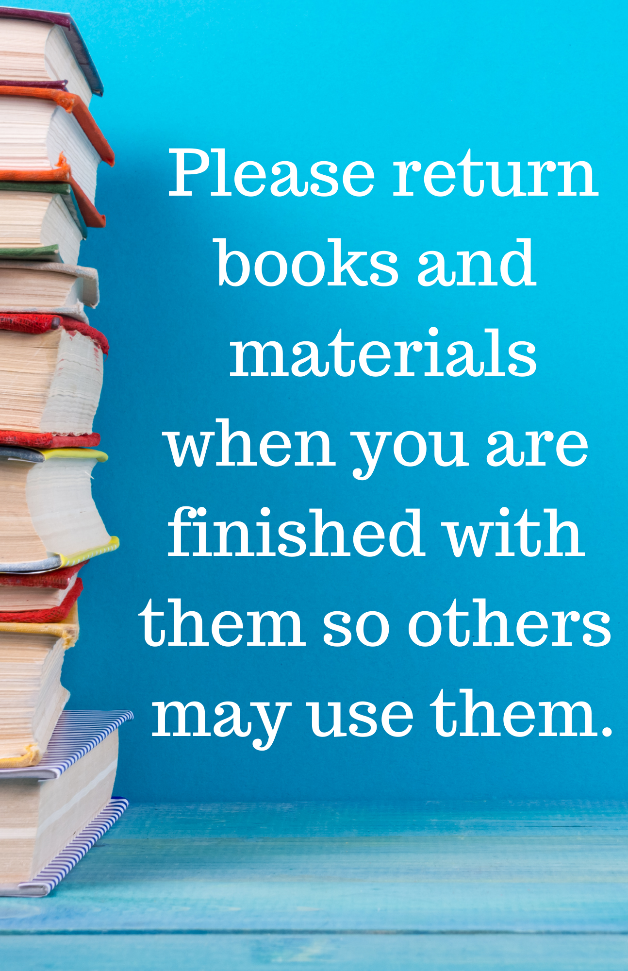 stack of books on blue background with text saying