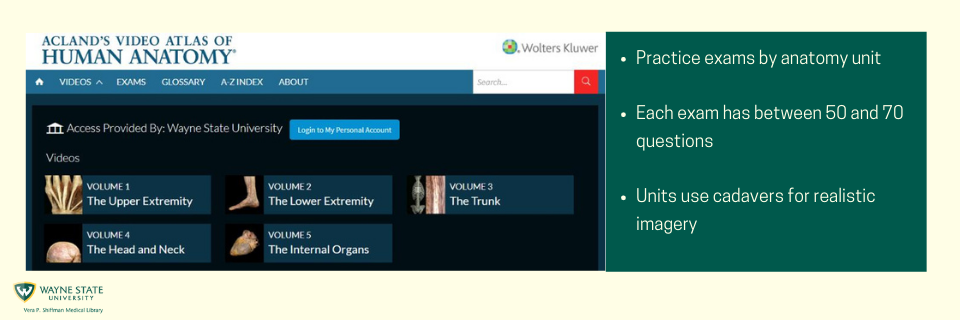 Acland's Video Atlas of Human Anatomy database link