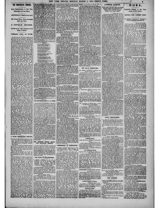 Newspaper page with an article on prohibition.