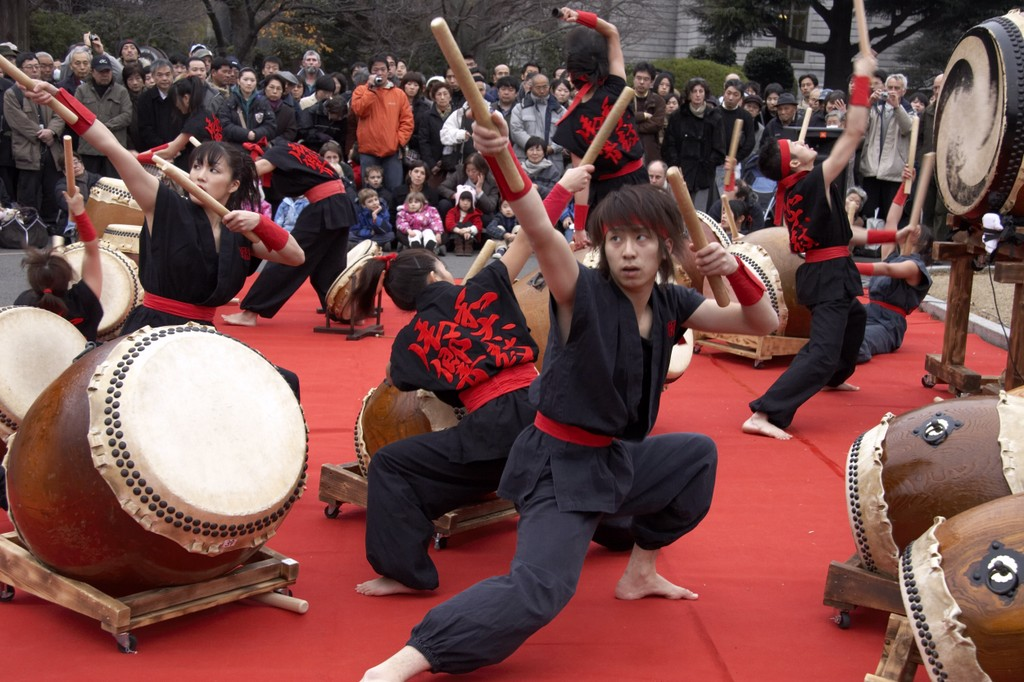 Image: A Taiko group drumming