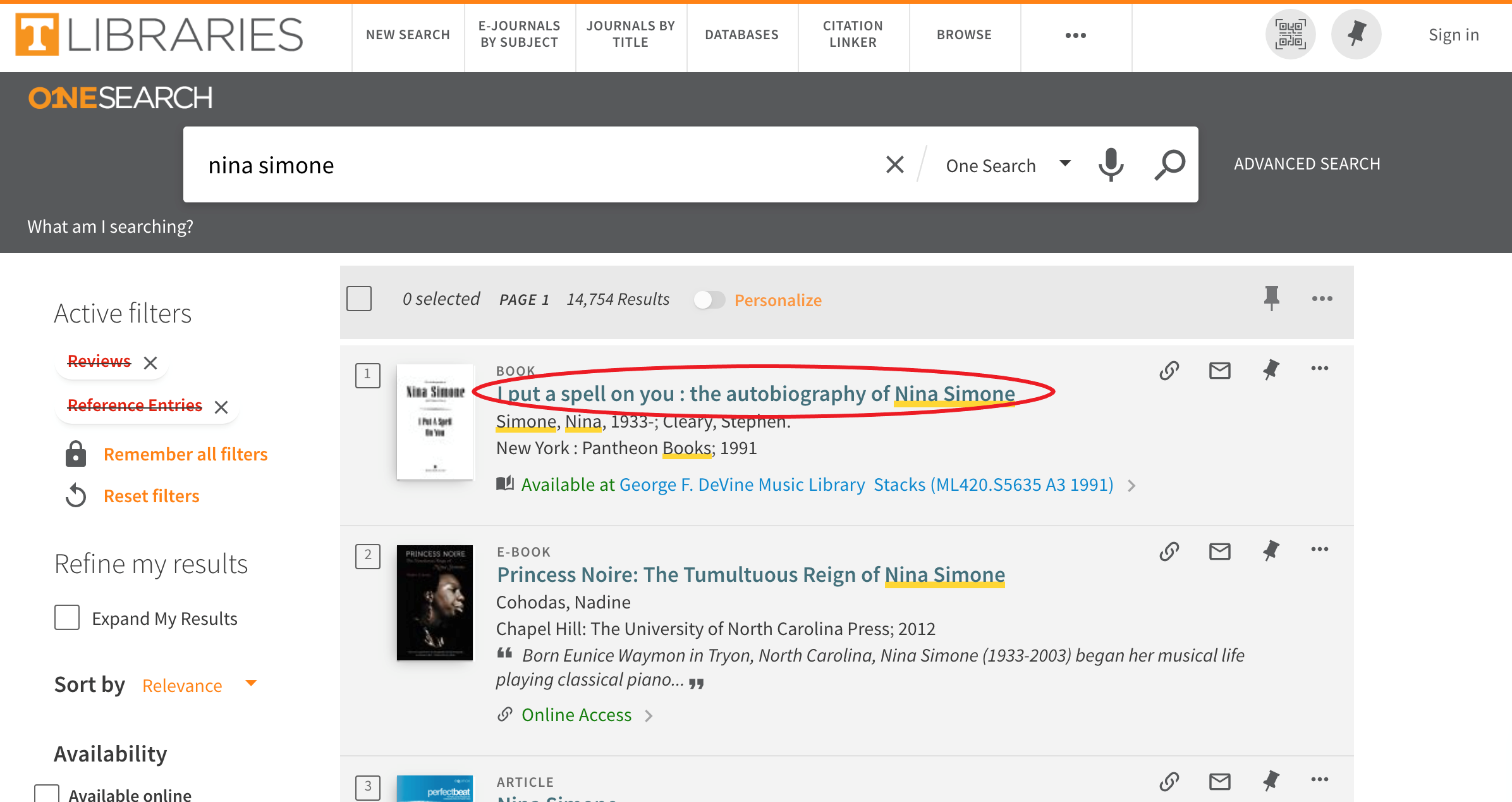 OneSearch Online Catelog highlighting book results