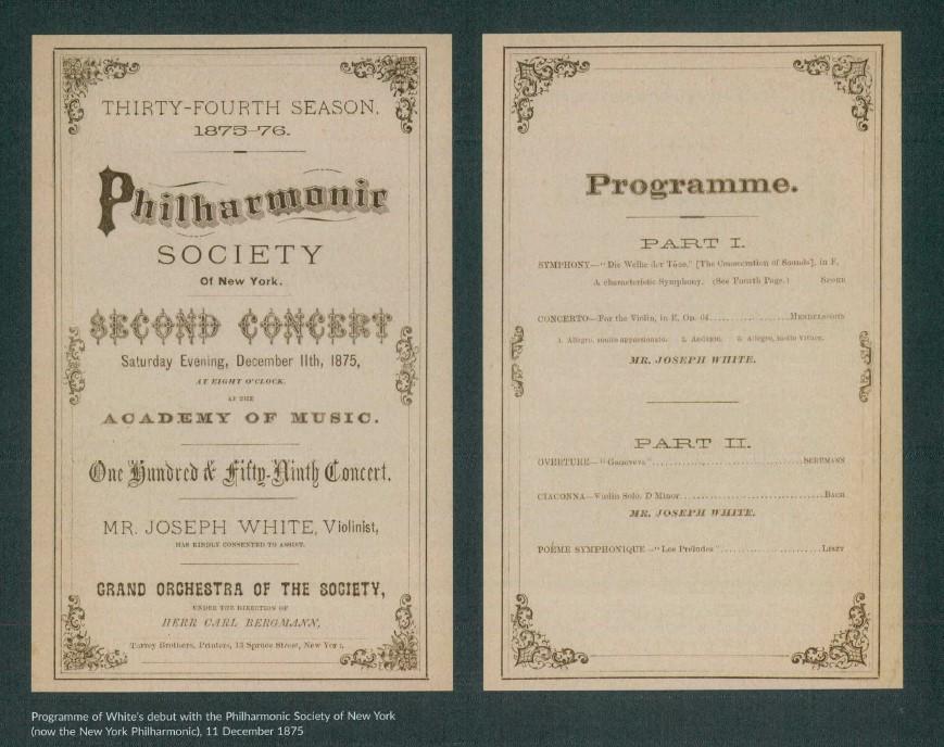 Concert program for Joseph White with the Philharmonic Society of New York
