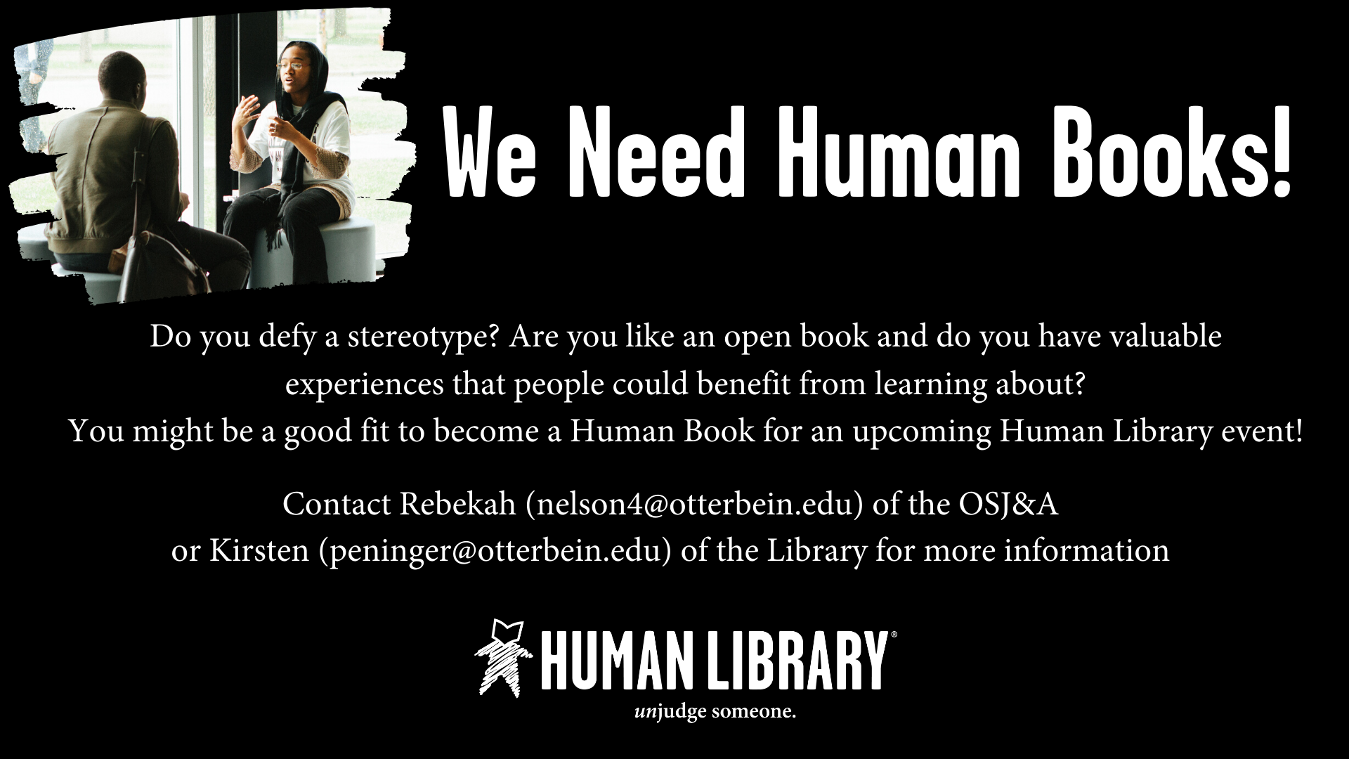 black image with photo of people advertising for Human library