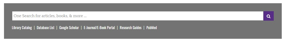 Screenshot of OneSearch bar from Laupus Library Website. Underneath search bar has image of links to other resources. From left to right: Library Catalog, Database List, Google Scholar, E-Journal/E-Book Portal, Research Guides, PubMed