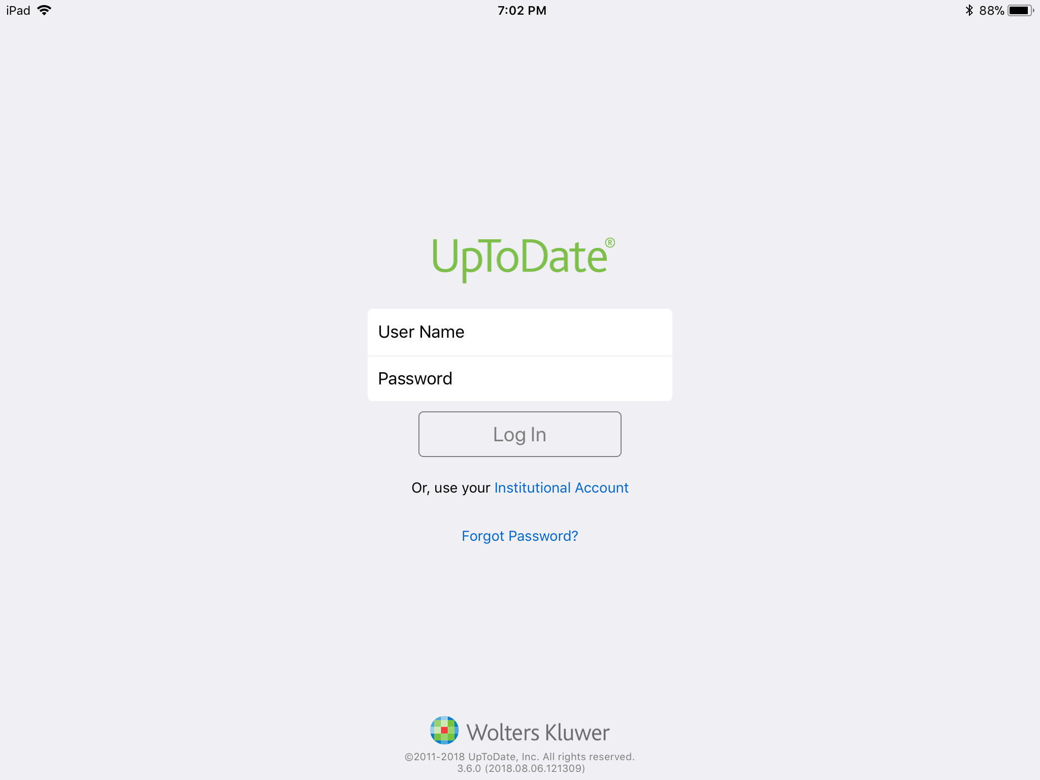 Landing page of the UpToDate app on iOS