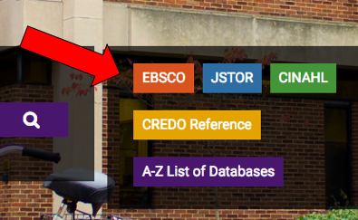 Aarow pointing to EBSCO button on library homepage