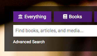 Screenshot of search box on library homepage