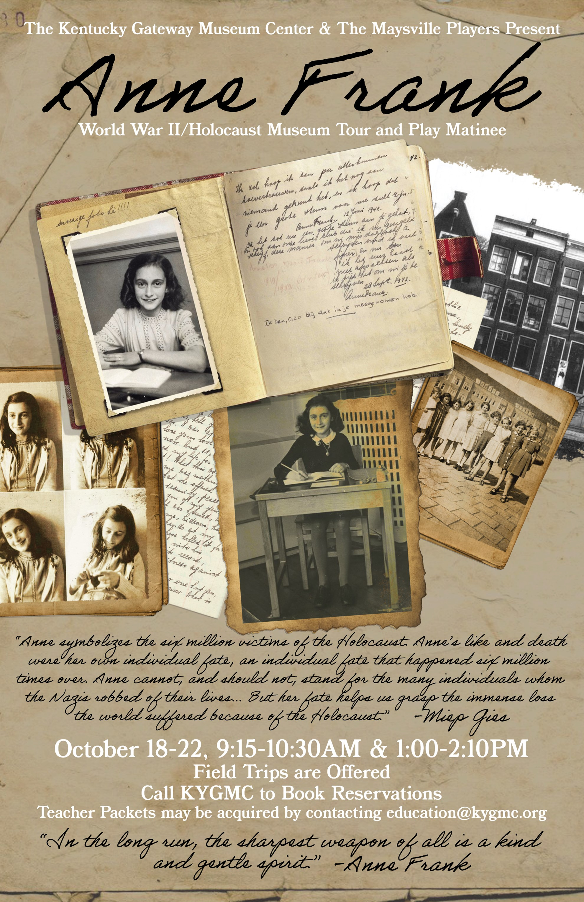 Books and old photographs of Anne Frank.