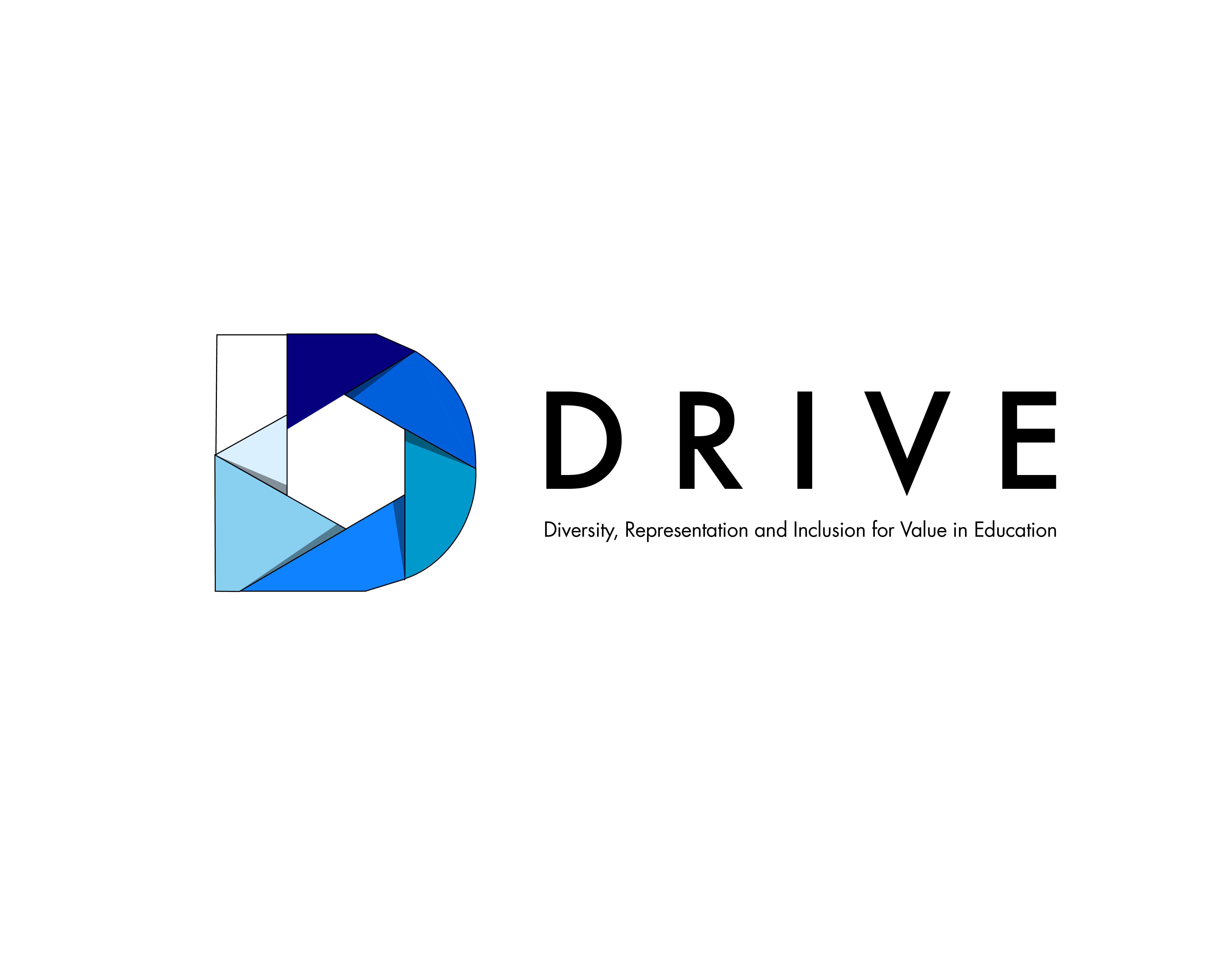 DRIVE: Diversity, Representation, Inclusion and Value in Education - color logo, predominantly blue