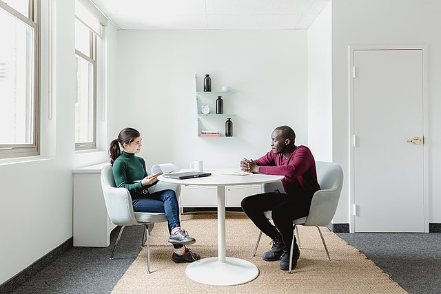 a meeting between two people