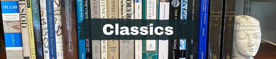A shelf of Classics books