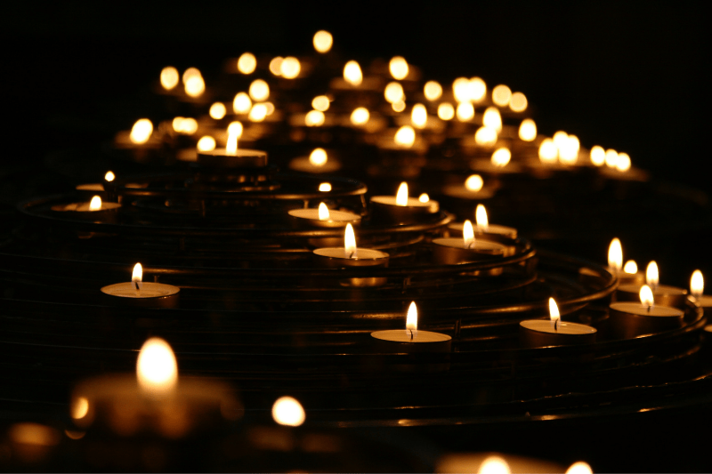 candles flikering in the dark