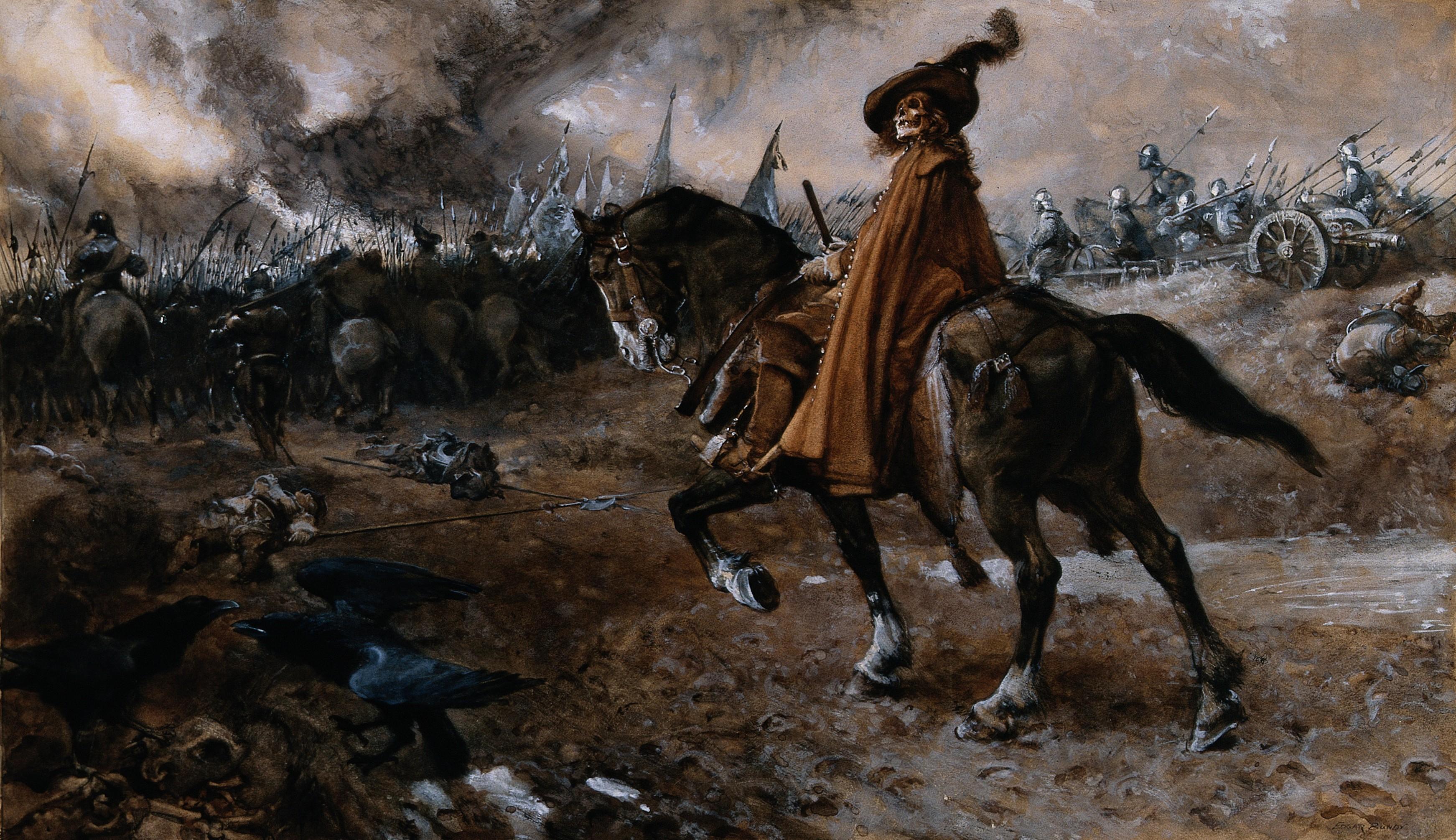 skeleton riding a horse into battle