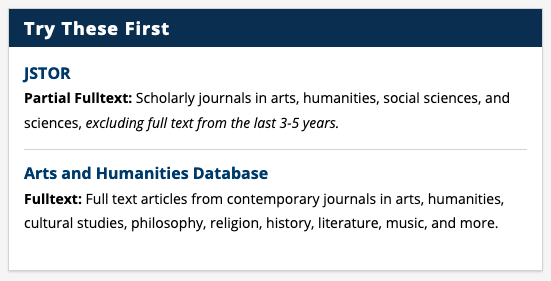 Screenshot of Art Research Guide page showing JSTOR and Arts and Humanities Database