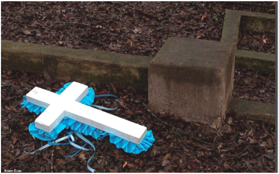 image of cross at grave