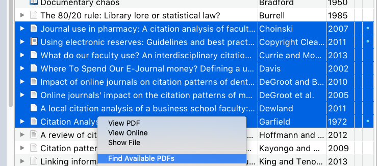 Find available PDFs via Zotero