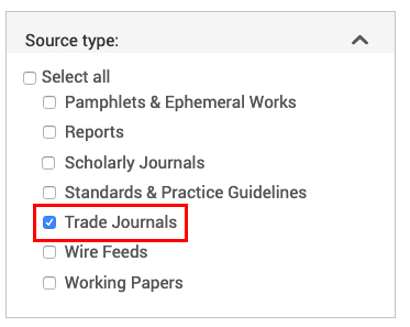 Searching trade journals in ProQuest