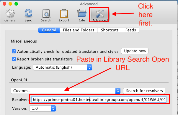 Library Search open URL linking