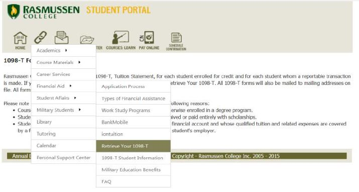 Screencapture of 1098-T Access via the Student Portal