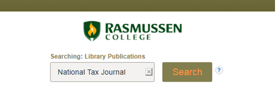 Search for National Tax Journal in A-Z Publications