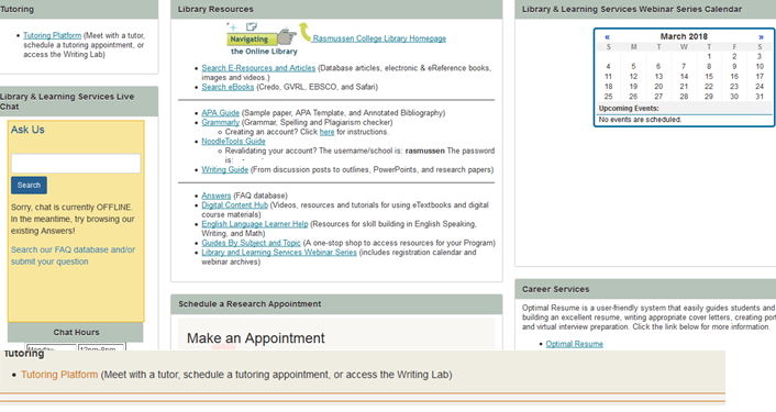 Screencapture of Resources page in Blackboard Learn