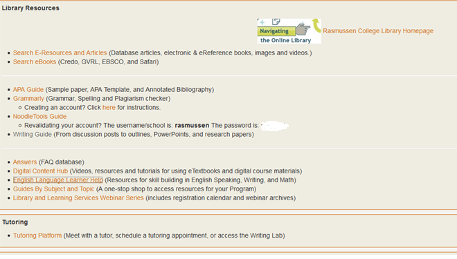 Screencapture of the CBE/Engae Resources tab page