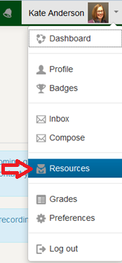 Screencapture of the Resources tab in a CBE course