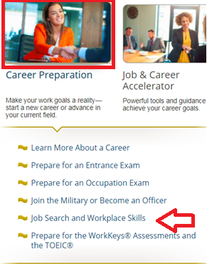 Screencapture of Career Preparation module in Learning Express