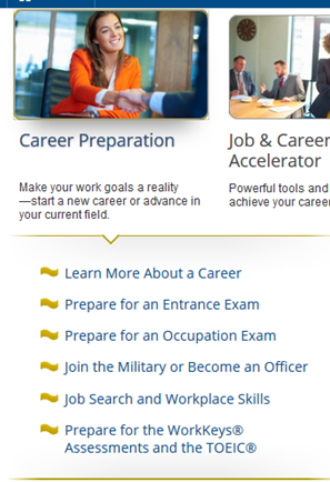 Screencapture of Career Preparation in LearningExpress