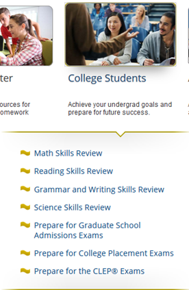 Screencapture of College Student area in Learning Express
