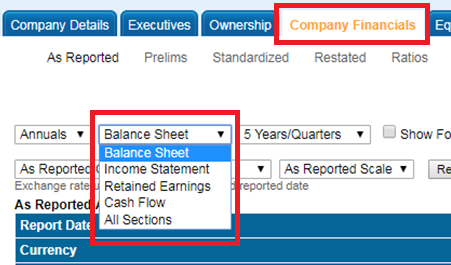 Screencapture of Balance Sheet in the Mergent Online Company Financials tab