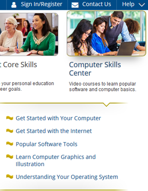 Screencapture of Computer Skills Center in LearningExpress