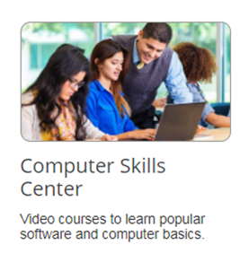 Screencapture of choosing Computer Skills Center for options in Learning Express
