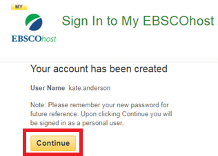 Screencapture of EBSCOhost account creation confirmation
