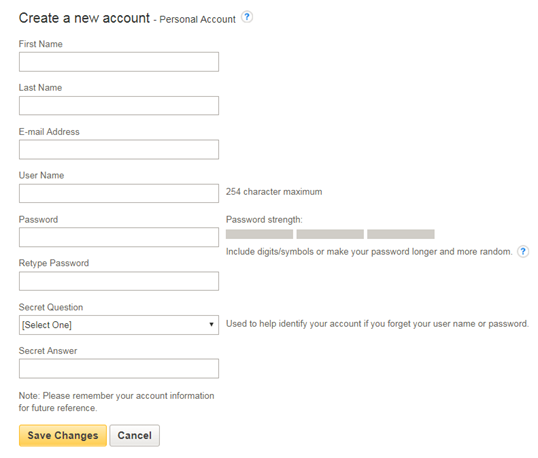 Screencapture of EBSCOhost form for creating a new account