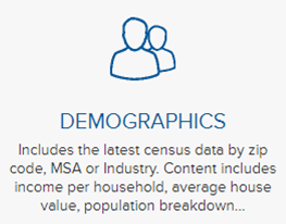 Demographics icon in Mergent Intellect