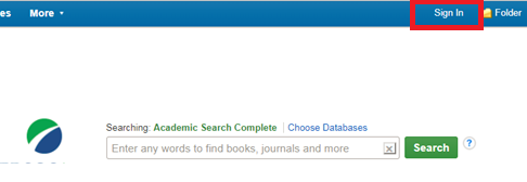Screencapture of the EBSCOhost Sign In button